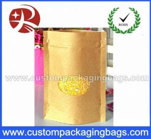 China Popular Kraft Paper Plastic Ziplock Bags With Ground Transparent Window on sale