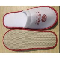 Quality brushed cotton disposable slipper with printed logo close toe for sale