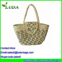 Quality Luda Manual Straw Beach Bag Natural Woven Corn Husk Straw Bag for sale