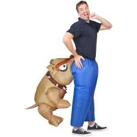 Quality Man Eating Bull Dog Adult Inflatable Costumes Artificial Realistic Animatronic for sale