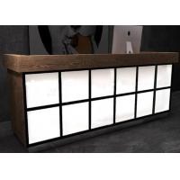 China Luxury Wooden Veneer Surface Grocery Store Checkout Counter With Lighting Box on sale