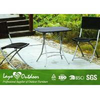 Rustic Steel Patio Outdoor Furniture Garden Table And Chairs Set Black / Brown Color