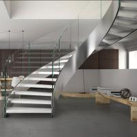 Quality Stainless Steel Curved Wooden Staircase , Interior Wood Stairs Customized Floor Height for sale