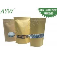 China Multi Purpose Kraft Paper Ziplock Bag , ASTM Stand Up Kraft Coffee Bags With Valve on sale