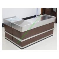 Buy Grocery Store Checkout Cash Register Wrap Counter Steel Coffee Reception Counter at wholesale prices