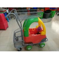 Quality Hand Push Plastic Kids Shopping Carts With Castors , Movable Store Wire Mesh Basket Trolley for sale