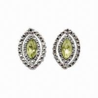 Quality Alloy Stud Earrings with Rhodium Plating and Crystal for sale