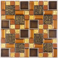 China Durable Fish Scale Irregular Glass Mosaic Tile Mixed Color Skid Resistance on sale