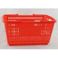 Quality PP Supermarket Hand Shopping Basket , Red Carry Shopping Baskets 500x350x255mm for sale