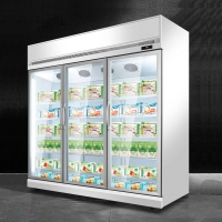 Quality -22 Degrees Fan Cooling Upright Triple Glass Door Ice Cream Display Freezer for sale