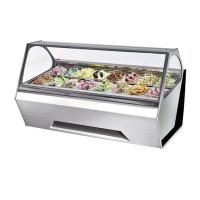 Quality 12 Pans Italian Gelato Showcase , Curved Glass Freezer For Ice Cream Display for sale