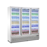 Quality Triple Glass Door Display Freezer Cooler Drink Milk Beverage Refrigerated Showcase With Fan Cooling for sale