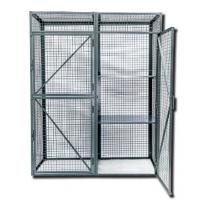Quality Black Metal Wire Utility Cart Lockable Mesh Security Truck Double Doors For Workshop for sale