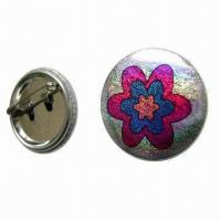 Quality Tin Pin Button Badge with CMYK Color Offset Printing and Safety Pin, Customized Designs are Accepted for sale