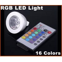 Quality DC12V 3W MR16 RGB 16 Colors Energy-saving remote controlled LED Light Bulb for sale