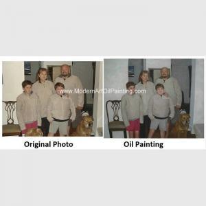 Quality Creative Family Pet Children Portrait Painting On Canvas Waterproof Bubble Film for sale