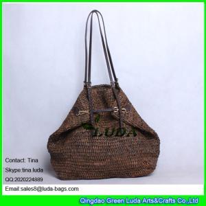 7a2a5a2aca Quality LUDA buckle handbags dark brown hand crochetting raffia straw bag  for sale