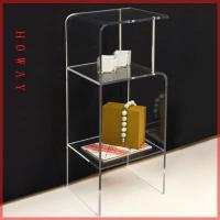 Quality MDF floor literature leaflets Magazine Display Rack with clear acrylic 11 compartments for sale