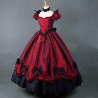 Quality Medieval Dress Wholesale XXS to XXXL Custom Made Red Puff Sleeves ROCOCO Ball Gown Gothic Medieval Victorian Dress for sale