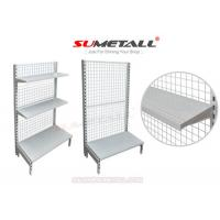 China Multi Layer Retail Store Shelving / Retail Wall Display Shelves With Mesh Grid Back Panel on sale