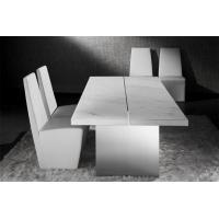 Modern Gray Natural Marble Dining Table With Marble Top And Chairs