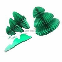 Quality Portable Green Tree Paper Christmas Decorations Paper Honeycomb Ornament for sale