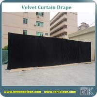 Quality Black portable stage background backdrop made with black velvet curtain drapes 100% blackout and frame resistant for sale