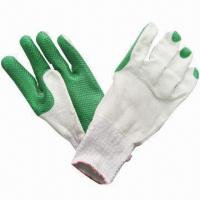 Quality Safety Gloves with Anti-slip Function, Made of Cotton Yarn and Plastic Pellets for sale