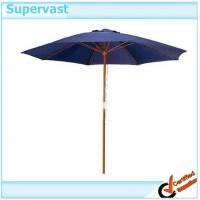 Quality Teak Premium Navy Blue Round Parasol Wood Patio Umbrella With Single Pulley Crank for sale
