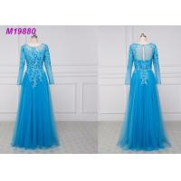 Quality See Through Royal Blue Mother Of The Bride Dresses With Sleeves , Lace Mother Of The Bride Suits for sale