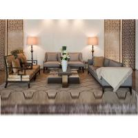 3 Seater Black Hotel Lobby Sofa Classical Design In Fabric Upholstered