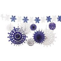 Quality Snowflake Tissue Paper Fan Winter Hanging Party Home Decorations for sale