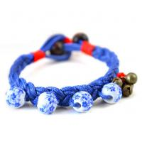 Quality Blue and white beaded jewelry Ethnic Tibetan silver jewelry bracelet woven ceramic jewelry for sale
