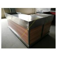 Stainless Steel / Wood Cashier Checkout Counter Electrostatic Spray Surface