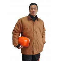 Quality 100% Cotton Canvas Winter Work Jackets With Corduroy Collar And Brass Zipper for sale