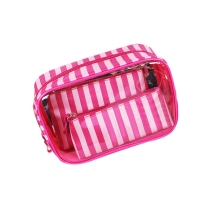 China Eco Friendly PVC+Polyester Zipper Soft Clear Travel Cosmetic Bag on sale