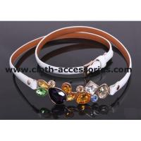 Quality 90CM × 2CM White Rhinestone Cloth Belts Diamond shape with OEM / ODM Accepted for sale