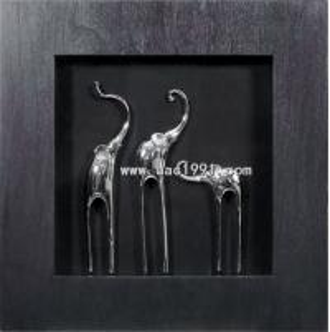 A Sets 3D Shadow Box Elephants MDF Framed Artwork