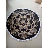 Quality Custom Reactive Printed Cotton Circle Beach Towel Round with fringe tassels for sale