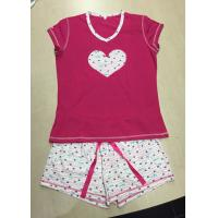 Quality Soft 100% Cotton Knit Pajamas Sets Heart Printed Ladies Short Pyjama Set Sleepwear for sale
