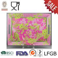 China Melamine Square Serving Tray with handle on sale