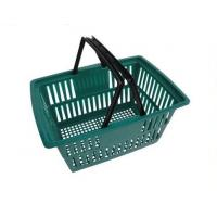 Quality Used Plastic Supermarket Shopping Baskets With Double Handles In Green for sale