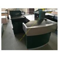 Quality Stable Retail Metal Cashier Checkout Counter Dark Green Floor Standing for sale