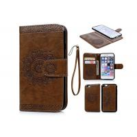 China Brown Wallet Leather Case For Apple iPhone 6s Plus , Full Camera Protection on sale