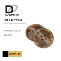 Quality Brown 4 Holes Plastic Buttons For Suits & Coats Horn Effect Finish for sale