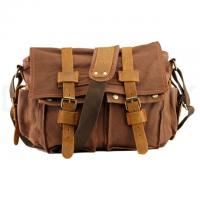 Quality School Vintage Leather Messenger Bag First Layer with Canvas Satchel for sale