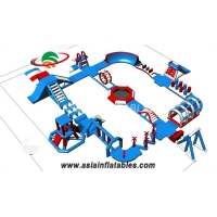 China Blue Color 30 M  TUV Water Park Inflatable Water Park Equipment Water Park For Sale on sale