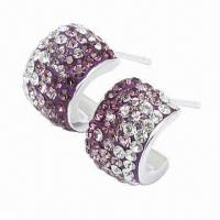 Quality Silver Stud Earring, Decorated with Crystal, Handicraft Technology, Available in Different Colors for sale