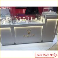 China Custom made white jewelry retail display cases,jewelry store cabinet with locks on sale