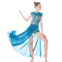 e1b615138 Quality MiDee Best Sell Lyrical Dance Costumes Dresses Floral Sequins  Leotard Cap Sleeves Leg Opening for